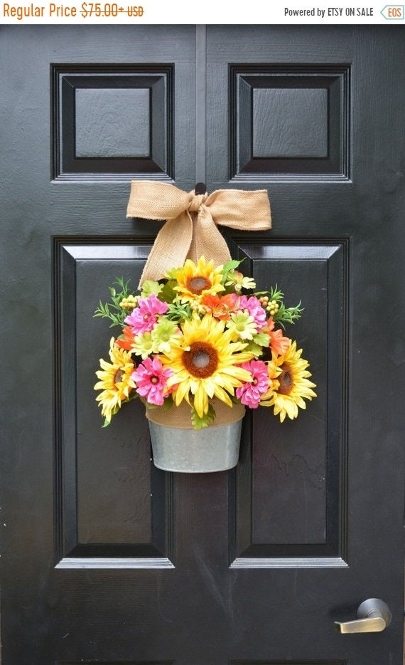 SUMMER WREATH SALE Sunflower Summer Wreath Alternative Door Bucket- Outdoor Xl Yellow Floral Door Wreath Decor- Patio ARtificial Outdoor Wre