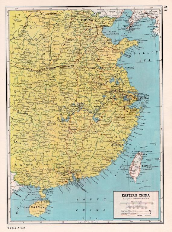 1947 eastern china vintage map shanghai peiping taiwan 70 gumiabroncs Choice Image