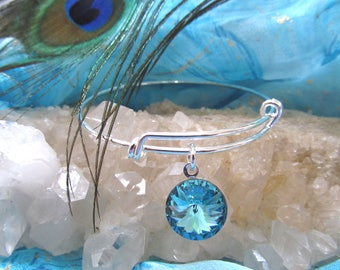 "D. Kirkup Designs ""Circle of Light""  Swarovski Turquoise Crystal Bracelet"