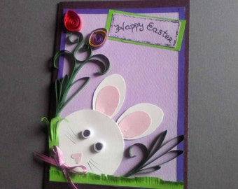Easter card, Easter rabbit card, Happy Easter, Easter wishes, Easter greetings card, funny Easter card, Easter bunny card, handmade Easter
