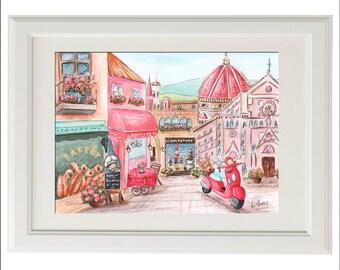 Florence Italy Italian Baby Girl Personalized Watercolor Print, Italian Shower Gift Idea, Pink Nursery Travel Theme Wall Art, Santa Croce
