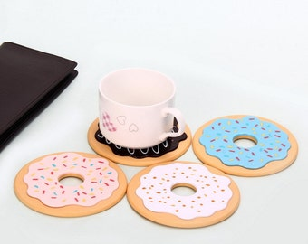 4 piece Donuts Coasters/Cute Coasters/Cool Coasters/Unique Coasters/Awesome Coasters/Best Coasters