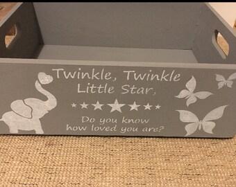 Baby Shower newborn bespoke personalised shabby chic keepsake gift medium box