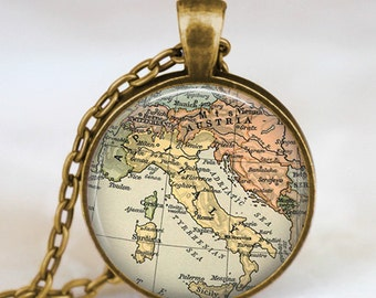Italy map pendant ,Italy map necklace,italy  map  pendant, world map jewelry,  map charms