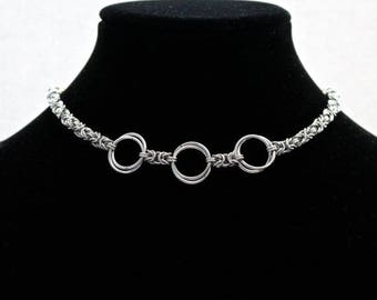Chainmaille Necklace, Byzantine Weave, Choker Necklace, Infinity Link, Silver Chainmaille, Chainmaille Jewelry