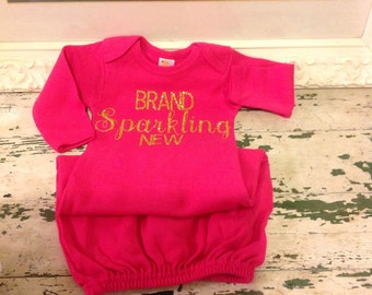 Hot pink girls personalized infant gown