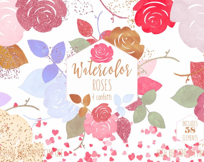 PINK & ROSE GOLD Floral Watercolor Clipart Commercial Use Clip Art Watercolour Flowers Chic Wedding Confetti Hearts Invitation Graphics