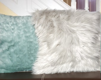 Pillow Covers: Shaggy Dusty Grey, Dusty Green Faux Fur Décor Pillow Covers