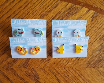 Pokemon Inspired Bulbasaur, Charmander, Squirtle, Pikachu Earrings Gift Set