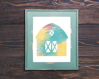 Cheery Watercolor Barn Print