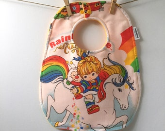 Rainbow Brite Baby Gift - 80's Baby Gift - Rainbow Bright Baby Bib - Upcycled Baby Gift from Vintage Sheets