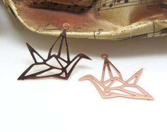 2 charms, filigree, bird Origami Rose Gold, 22 * 20 mm