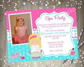 Spa Party Birthday Invitation Invite Photo Invitation Picture Pink Aqua Printable Invitation CHOOSE YOUR GIRL