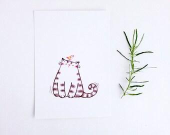 Cat Drawing, Postcard, Wall Art, Cat Print, Nursery Art Cat, Cat Lover Gift - Sweet Kitty