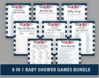 Blue Baby Shower Games Bundle, Navy Blue Package Deal, Mommy or Daddy, Nursery Rhymes, Baby Tune, Baby Bingo, Name Race, BG05
