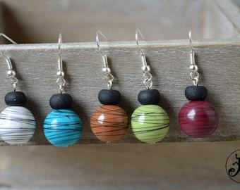 Raku style ball earings
