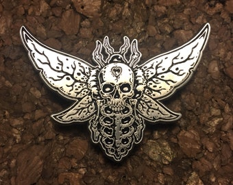 Death moth - antique silver
