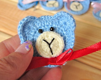 Crochet appliques,Crochet bears blue,Set of 10pcs,Teddies Crochet,Embellishment,Party Decorations,Crochet Motives,Photo Prop