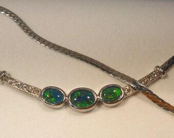 Opal Necklet Rhodium Plate Triplet 2x7x5 & 1x8x6 item 30171.