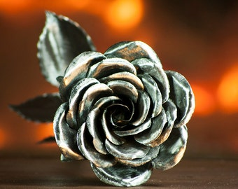 Valentine's day flower gift metal rose steel forever flowers life size realistic bouquet roses wife girlfriend copper aluminum