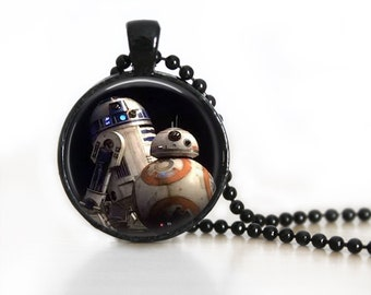 Star Wars BB8 R2D2 Inspired Glass Pendant, Photo Glass Necklace, Glass Keychain