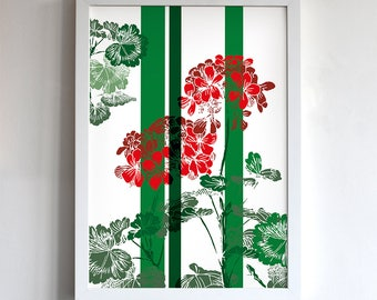 Geraniums, illustration, vibrant image, wall art, bright and colourful, reds and greens