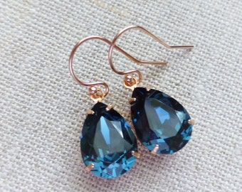 Navy blue Swarovski Rose Gold Earrings, Dark Blue Crystal Rhinestone Earrings, Crystal Teardrop Earrings, Bridesmaid GIfts, Wedding Jewelry