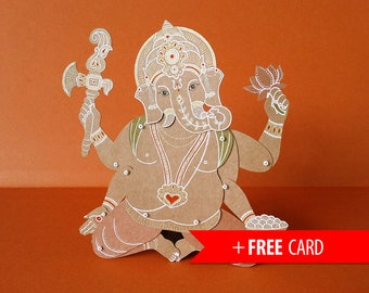 Ganesha Articulated paper doll Indian God hindu elephant paper puppet handmade greeting card spiritual lucky charm marionette hinduism