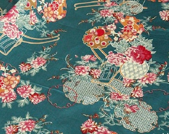Japanese thick cotton stretch pattern floral traditional green 120 * 50 cm