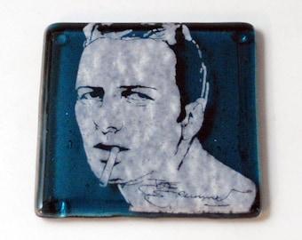 Joe Strummer Fused Glass Coaster