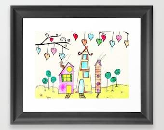 nursery decor,  printable art, digital download, digital print, printable wall art, Instant Download, watercolor art print, Doodle art print