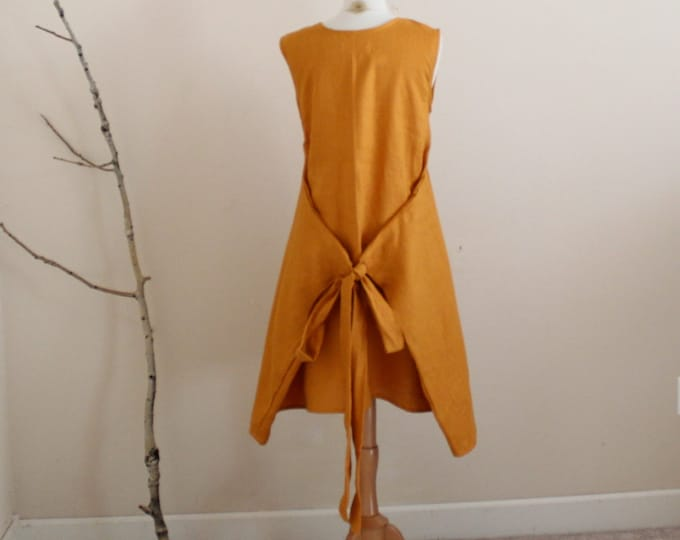 Custom knee length linen flutter dress / linen dress custom sizes and colors / short linen dress / slow clothes