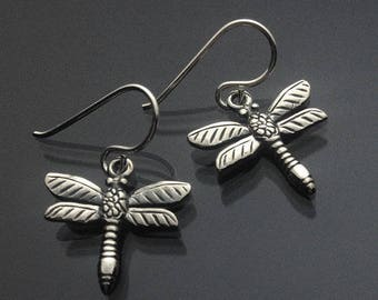 925 Solid Sterling Silver DRAGONFLY (2) Earrings Silver/Dangling/Oxidized Dragonfly/Darkened/Dragonfly Jewelry/Simplicity Dragonfly