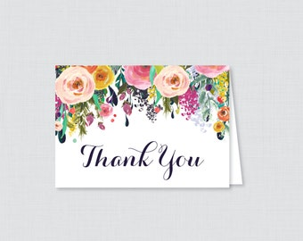 Printable Floral Thank You Card - Printable Instant Download - Flower Baby Shower Thank You Card, Floral Thank You Card - 0025-B