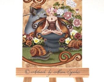 Snail Fairy Yoga Pose Meditation Garden Fairy Fantasy Art Card ACEO ATC