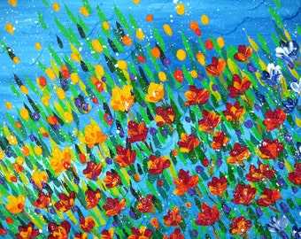 "textured painting, painting of poppies, textured flowers, palette knife art, painting with texture, painting with a lot of texture, 36""x24"""