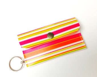 Business Card Holder Card Case Small Purse Red Orange Yellow Stripes