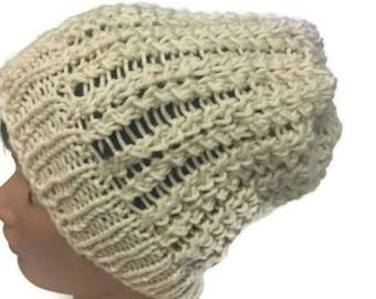 Slouchy Hat Off White Spine Beanie Winter Hat Handknit Ready to ship