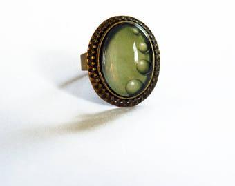 Ring, Baroque, Bronze, (green, light)