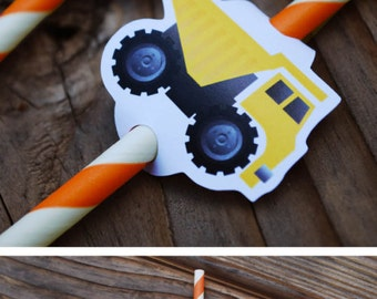 Construction Straw Flags, Construction Straws, Construction Birthday, Construction Party, Dump Truck Straw Flag, Decoration, Tools, Truck