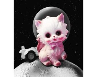 space kitten print 5 x 7 FUR FUR AWAY