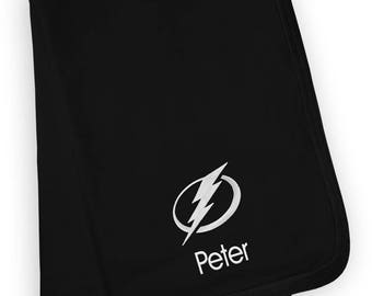 Personalized Tampa Bay Lightning Baby Blanket Black