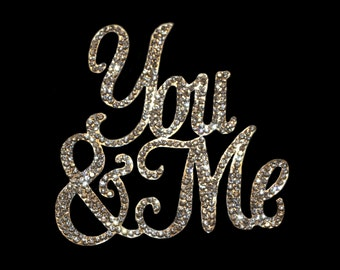 "Crystal Rhinestone and Silver Alloy Cake Topper ""YOU & ME"""