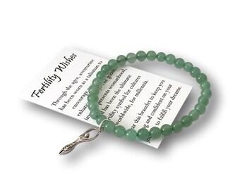 Fertility Wishes Gift Bracelet – Infertility Jewelry with Fertility Goddess Charm – Fertility Treatment Wishes – Aventurine