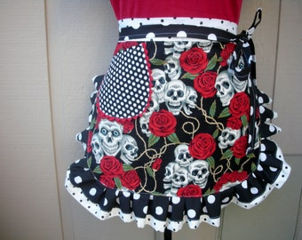 Aprons - Womens Tattoo Aprons - Skull and Roses Aprons - Red and Black Aprons - Handmade Aprons - Annies Attic Aprons - Aprons with Skulls