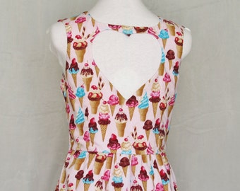 Heart Cut Out Ice Cream Print Dress - Coney Island Dream, Pink, Womens Summer Dress, OOAK, Size Medium