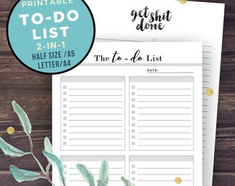 To Do List Printable, Printable To Do List, To Do List Notepad, Notebook, printable stationery, planner pages, Get shit done, A5, Half Size