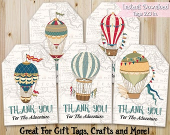 Gift Tags Printables / Thank You Adventure Favor Tags / Set of 5 / Digital Download / INSTANT DOWNLOAD / Party Tags / Scrapbooking Crafts