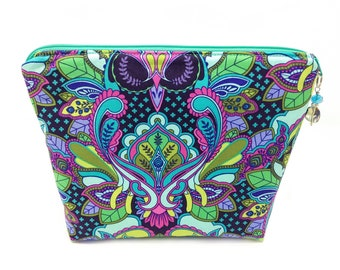 Cosmetic Bag Vinyl Lined Zipper Pouch Pink Teal Navy Blue Purple Green Owls