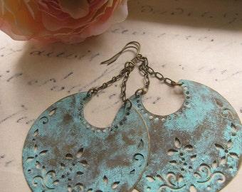 Blue Patina Earrings, Half Moon, Chandelier Earrings, Aqua, Bohemian, Crescent moon, Tribal, Moroccan, Statement Earrings